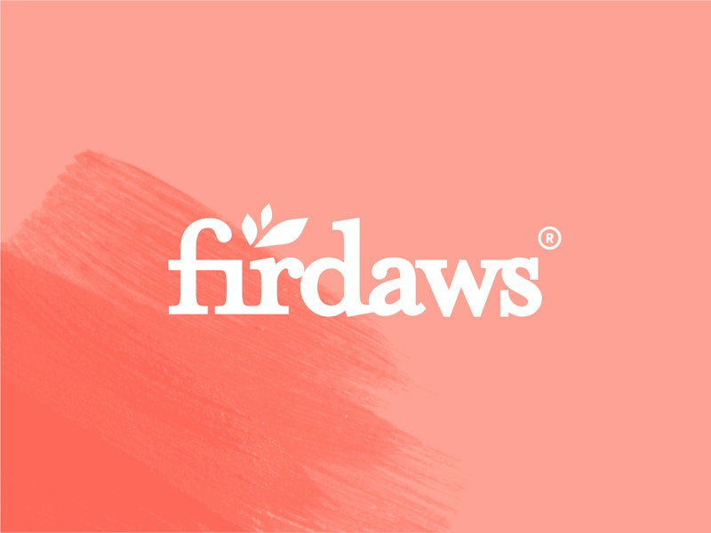 Firdaws Natural Beauty Logo organic name leaf beauty care natural vector logo branding flat
