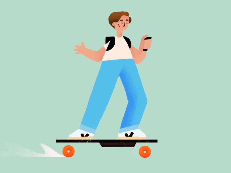 A Friend on a boosted board