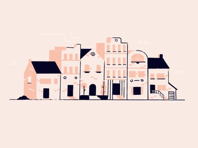 Looking for a nest branding flat illustration city town house home
