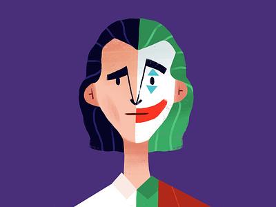 Joker sketch movie joker flat illustration