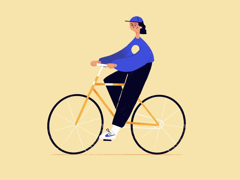 New Bike drawing flat cap character bicycle cycling bike illustration