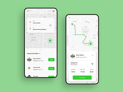 Bike Booking App ux typography design app ui