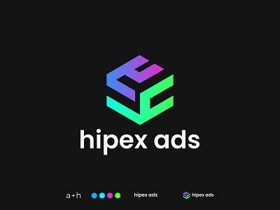 hipex ads,  a h  Logo Design logo idea brand startup modern logo money company grid geometric hexagon simple digital marketing agency business ads marketing finance advertisement h logo a logo a h