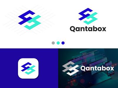 qantabox Logo Design, QB Logo, logo design server commercial vector monogram letter app logo creative business simple modern logo technology company startup agency software logo qb b logo q logo
