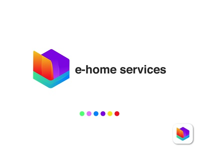 e-home service logo for ecommerce site abstract mark app logo startup gradient logo mark identity brand professional business building home services shopping logo amazon store logo online shop home property real estate ecommerce logo