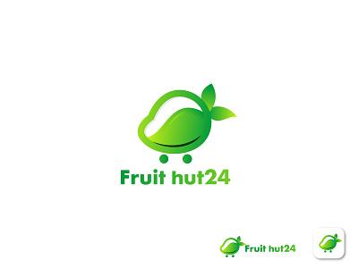 Fruit hut24, Ecommerce Logo logo design mango modern logo shopping online store gradient colorful logo graphic design professional company logo business logo creative logo app logo app icon design ecommerce ui illustration fruit logo brand identity branding