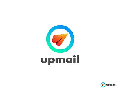 upmail Logo concept logo design advertising agency digital marketing creative business logo colorful ecommerce app icon design app logo information chat communication gradient logo symbol abstract modern logo mailbox branding