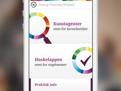 Kunstporten app menu