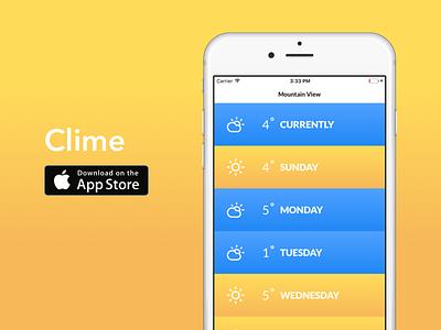 Clime ios mockup ui ux design app