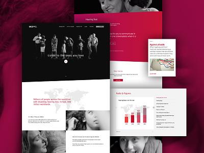 Listen to the ones you love red illustration onepager header black white interface ui web flat website webdesign design