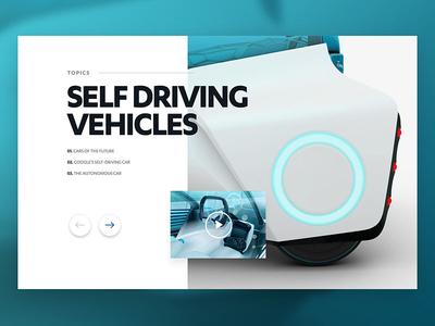 Topic Slider UI carousel simple clean self driving car ux ui web web design slider