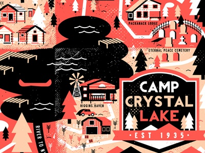 Camp Crystal Lake map movies illustration design horror jason voorhees friday the 13th