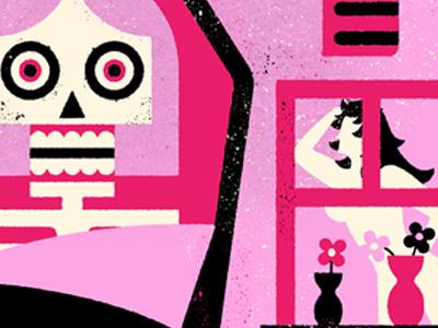 The Slumber Party Massacre - VHS REANIMATED movie film minimalist screen print graphic design horror movie feminist female flower skull retro vhs poster slumber party massacre slumber party texture poser art design horror illustration