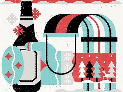 Asahi Christmas Card minimal design canada illustration snow winter beer art beer asahi printmaking christmas