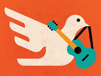 Hot Docs - Woodstock 50th Anniversary texture minimalist vector bird dove guitar illustration film poster film documentary music festival music woodstock