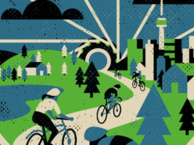 Ontario By Bike bicycle cycling vector printmaking screen print minimalist texture minimal design canada illustration