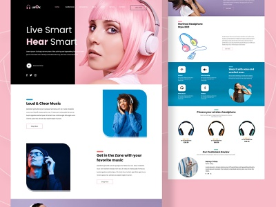 Headphone (Electronics) Online Store Web Design homepage mobile app mobile ui uidesign uxdesigns exploration uxdesign simple typography landing page webdesign online shop unique minimalist headphones product landing page design gaming ui design modern