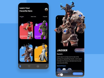 Gaming Mobile App Design minimal ui ux design app trendy dribbble best shot trending game gaming app mobile app applicaiton colorful