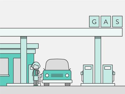 The Land of Teal gas pump teal gas station car line illustration gas