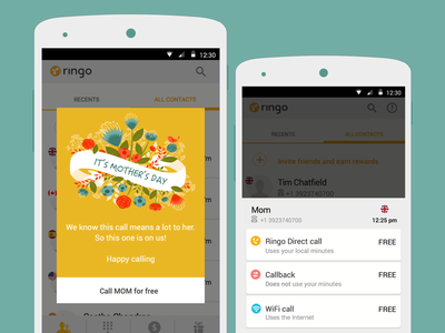Mother's Day Easter Egg surprise mothers day ui ux calling mobile cheap android ios app calls international