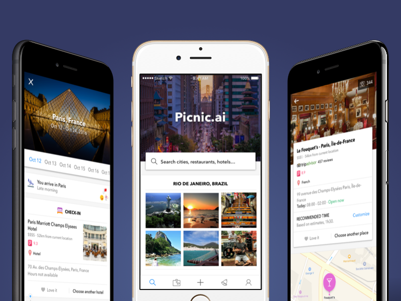 Travel itinerary & inspiration app powered by AI trip travel discovery social feed modern ux ui ios mobile artificial intelligence ai
