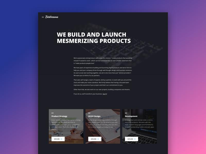 Bitdreams Website [About] interface modern portfolio agency studio ux ui clean coding landing page website