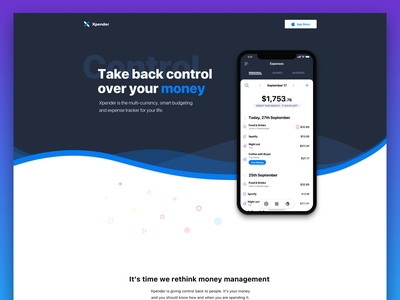 Xpender Landing Page ios bank mobile app tracker ux ui money fintech personal finance landing page
