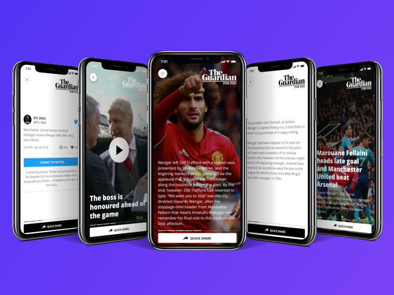 The Guardian For You: a new mobile experience newspaper media ux sketch modern mobile social app news clean ui guardian