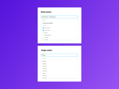 Design System: Multi and single select web design team minimal search checkmark checkbox tags redesign form component library library forms ui design personio design system ui library components single select multi-select