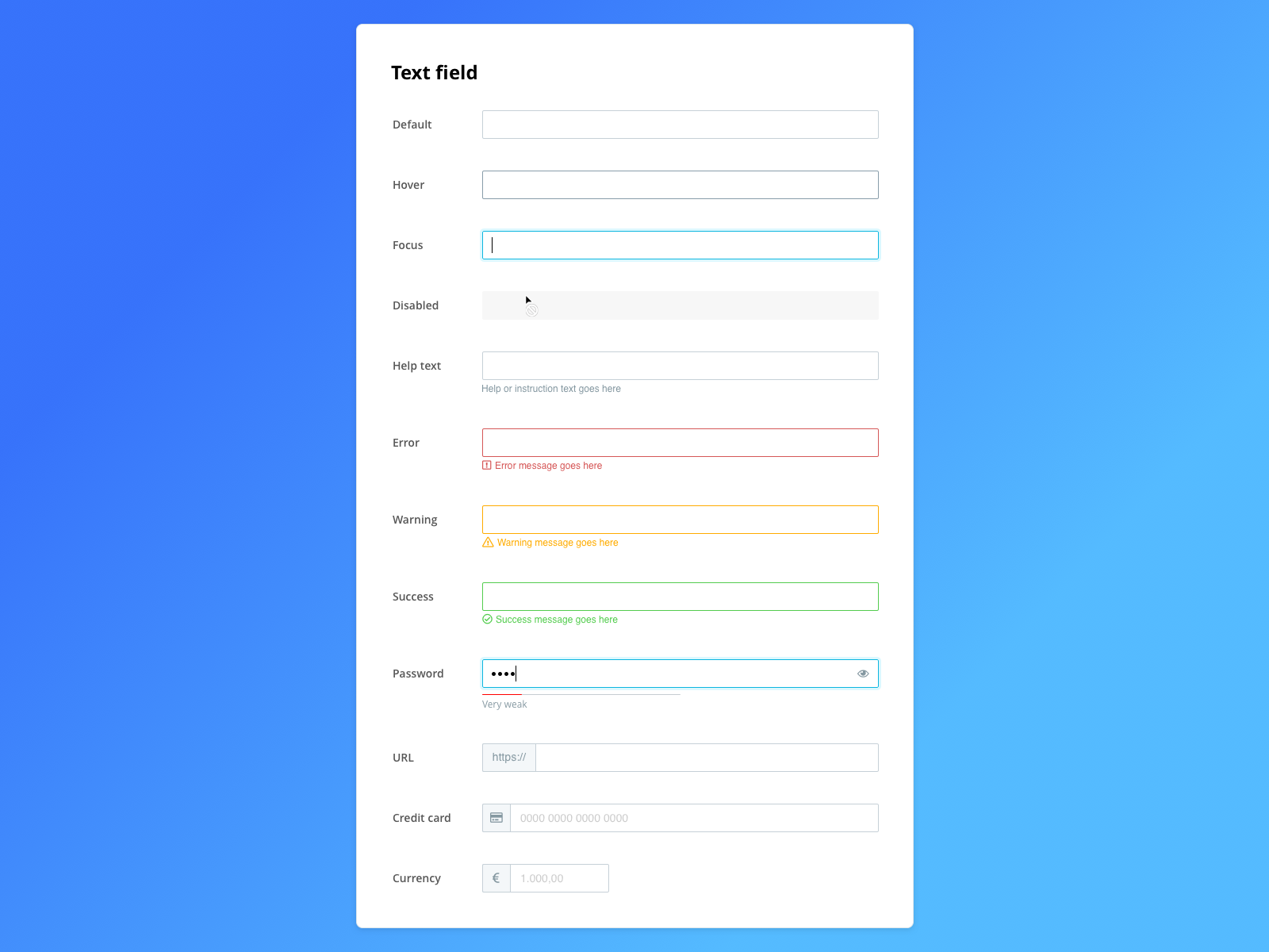 Dribbble text field