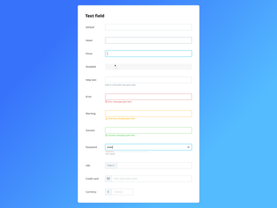 Design System: Text Field disabled personio text field input focus help credit card url password hover warning message success error component library components ui library form ui design system