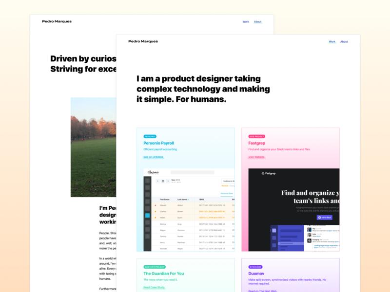 Pedro Marques - Personal Website product redesign web app tech minimal clean ux ui designer about work personal website portfolio design