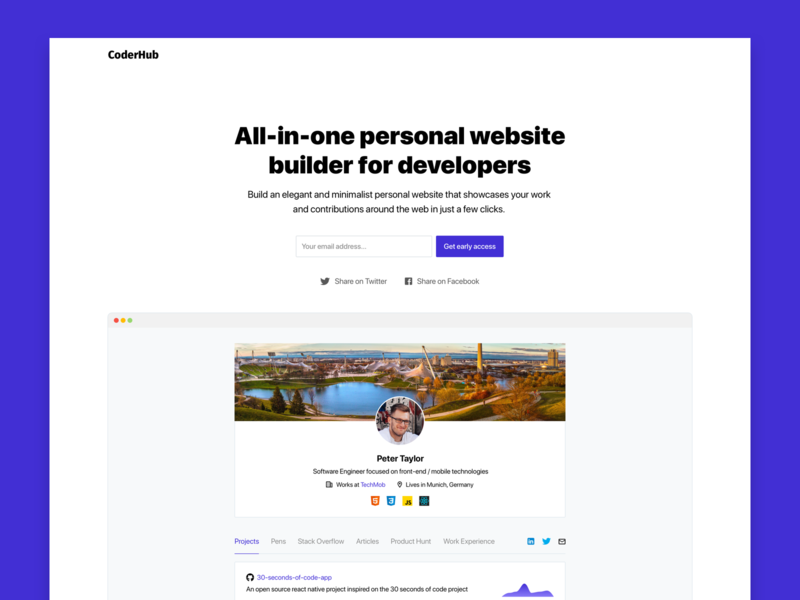 CoderHub | All-in-one personal website builder for