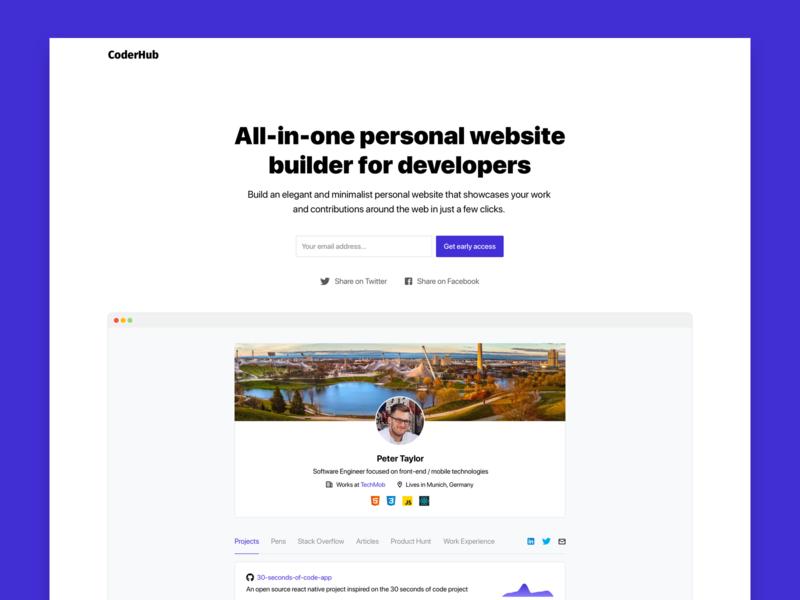 CoderHub | All-in-one personal website builder for developers modern webapp flat website minimalist minimal web developer mvp landing page personal website interface ux clean ui