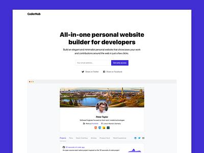 CoderHub   All-in-one personal website builder for developers modern webapp flat website minimalist minimal web developer mvp landing page personal website interface ux clean ui