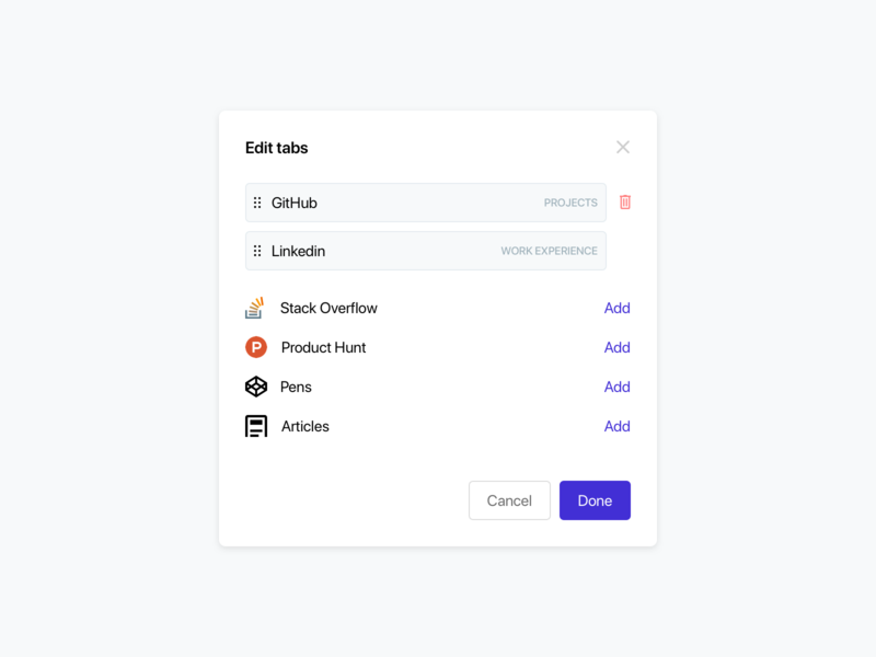 """""""Edit tabs"""" modal for CoderHub drag and drop integrations code mvp design systems design system design library component web web app minimalist minimal clean ux ui modal tabs"""
