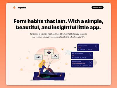 Tangerine - Habit and mood tracking app habit branding modal card stats analytics simple iphone apple ios app mood habit tracker ux ui