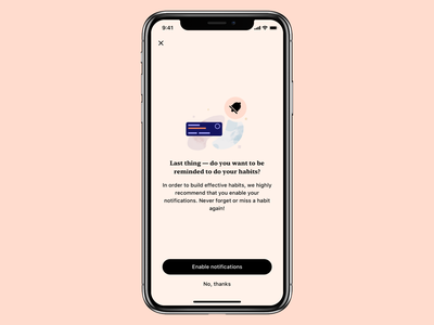 Tangerine - Enable notifications mobile minimal app prompt simple card reminder journal mood tracker habit cta illustration ux ui screen permission notifications