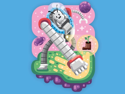Liferay Mascot illustration mural wall-e science fiction robot