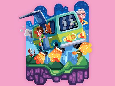 Crazy mash-up! scooby doo back to the future ultraman godzilla illustration vector adobe illustrator movies