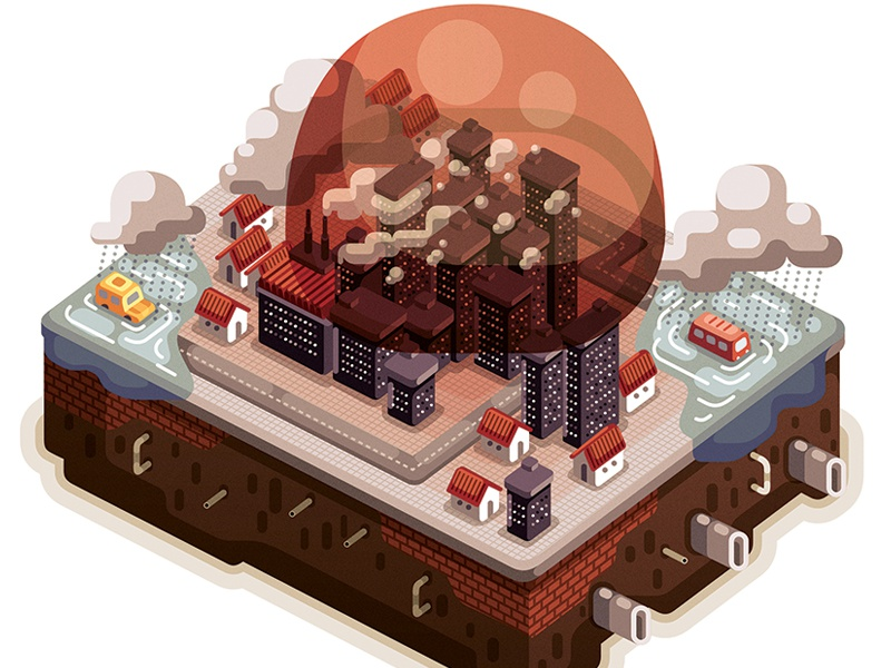 Climate change: City illustration editorial graphic adobe illustrator magazine