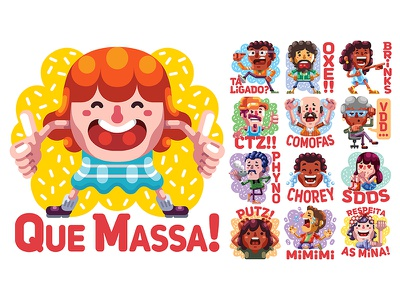 De Boa - Facebook Sticker Pack brazil cartoon adobe illustrator graphic digital illustration