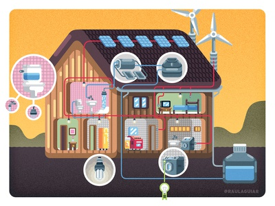 How a Sustainable House Works beach school cover books children kids editorial illustration