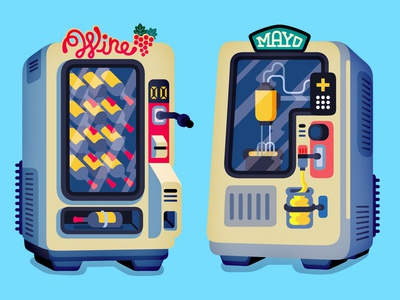 Vending Machines - Fast Company vector editorial illustration