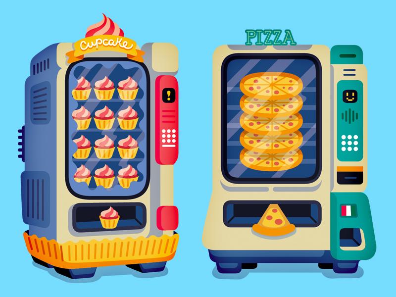 Vending Machines - Fast Company vector editorial illustration