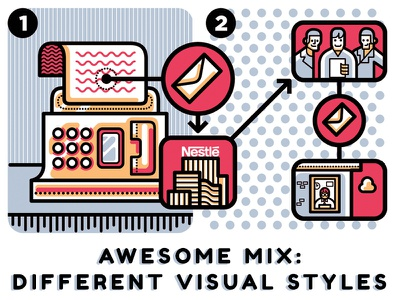 Awesome Mix ui editorial illustration vector editorial graphic adobe illustrator illustration