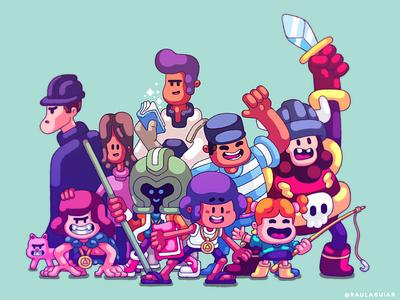 Group photo game animation comics timo graphic illustration