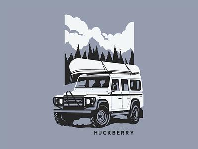 Land Rover Defender canoe black mountains truck lettering type identity branding apparel shirt illustration