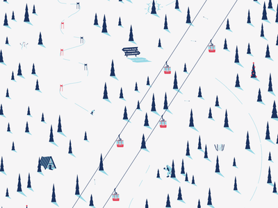 Ski Free scene winter paper wrapping ski pattern illustration
