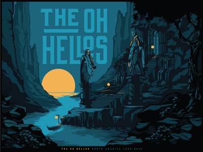 The Oh Hellos Spring Tour 2018 illustration gig poster band logotype branding identity tour statue landscape